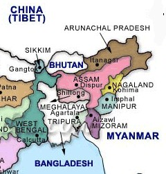 map of North East India region